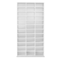Adjustable CD & Bookshelf - White front view