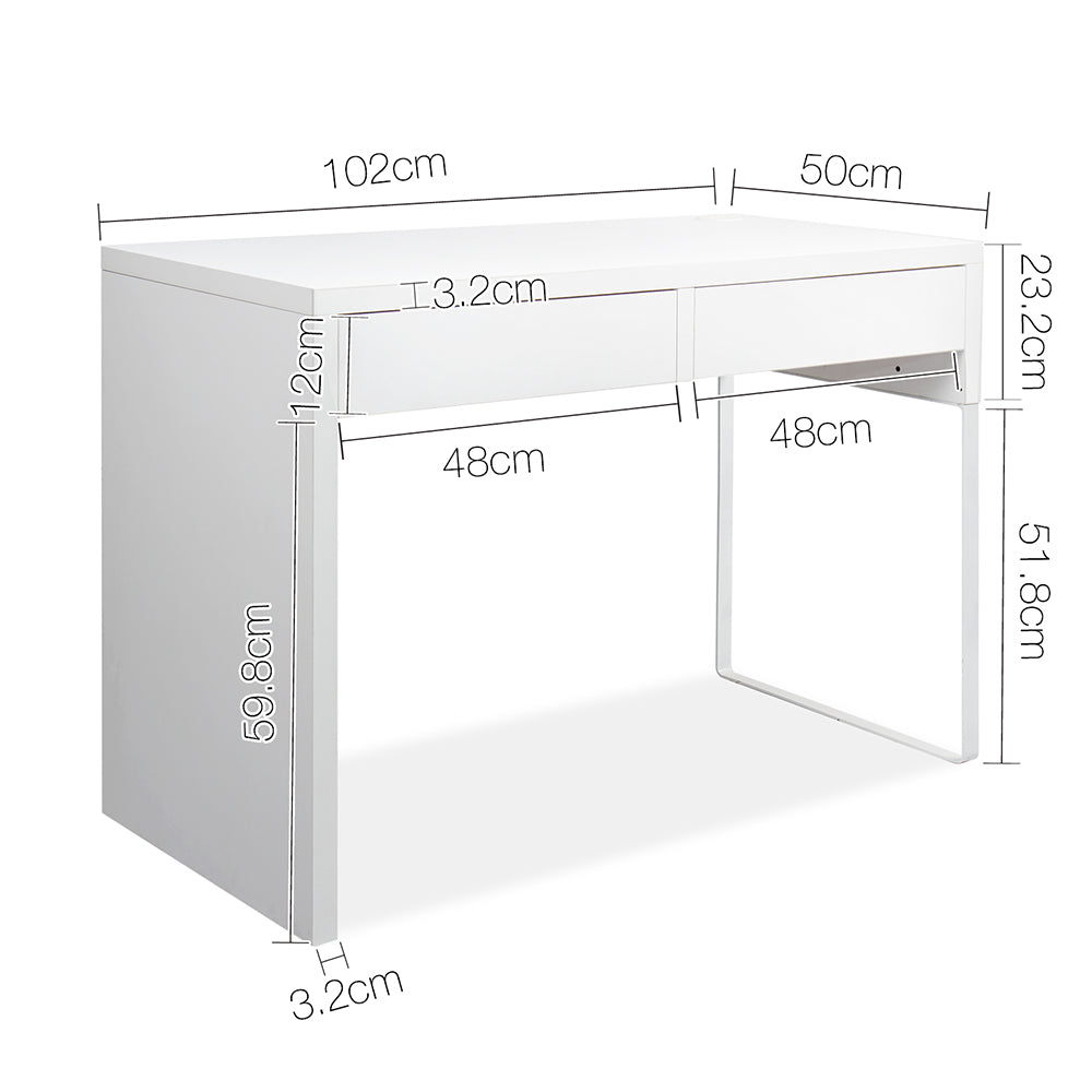 White Metal Desk with 2 Draws measurements