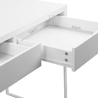 White Metal Desk with 2 Draws - draw close up