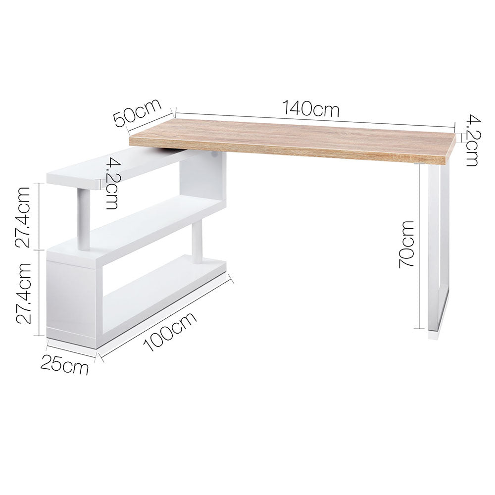 Rotary Corner Desk with Bookshelf measurements bent