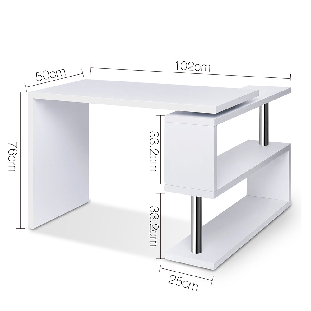 Swivel Corner Desk with Bookshelf  measurements