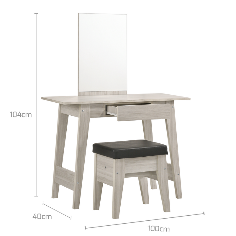 White Oak Dressing Table With Stool  measurements