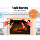 White Portable 2000W Electric Fireplace Mantle  rapid heating