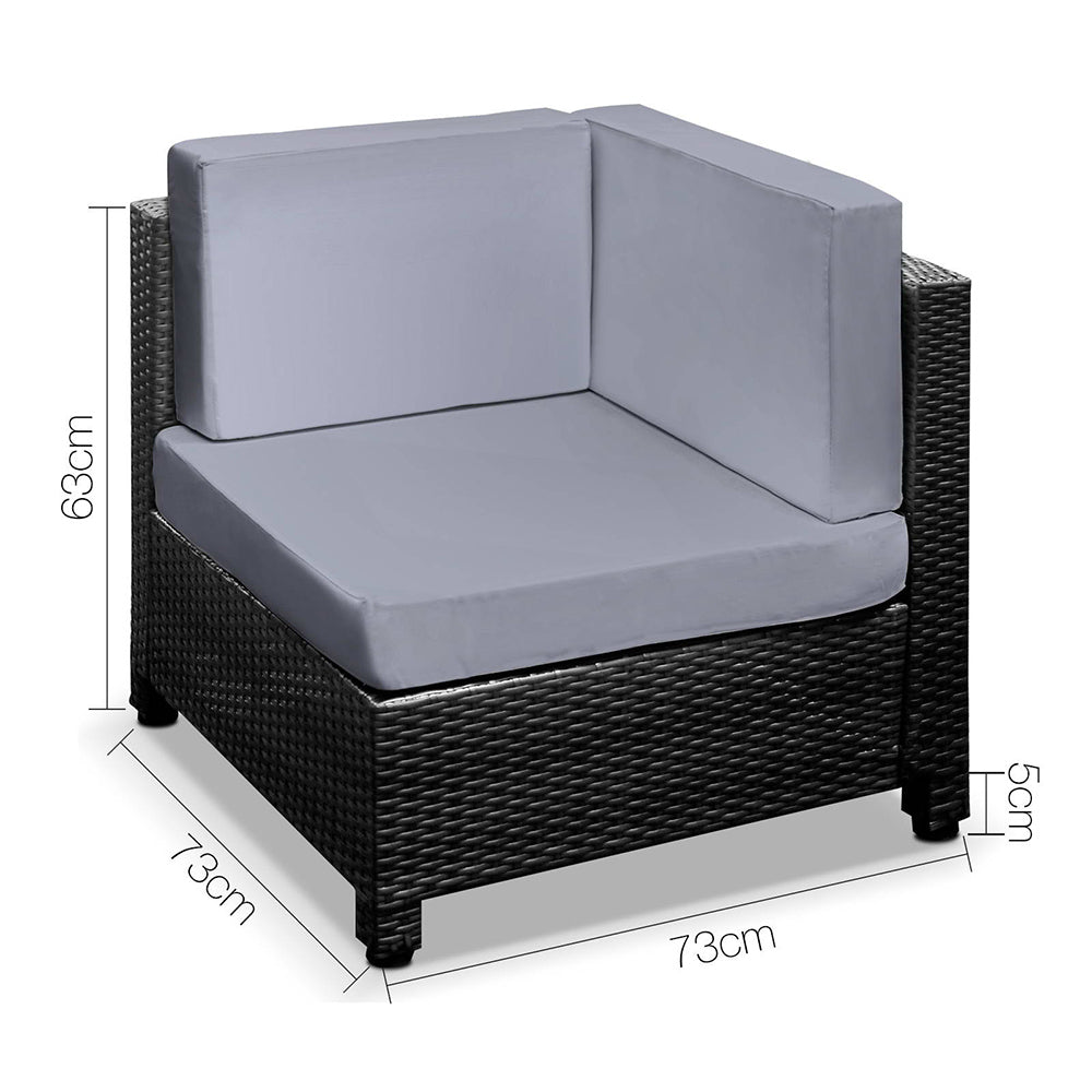 Guardian 5 Piece PE Wicker Outdoor Sofa - coroner chair measurements