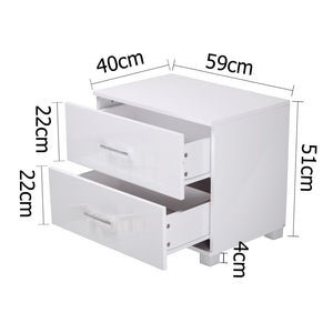 High Gloss Two Drawers Bedside Table White - HomeSimplicity