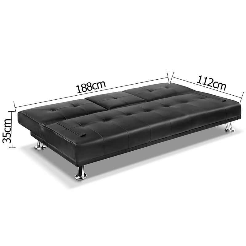 Cedric 3 Seater PU Leather Sofa Bed  measurements flat
