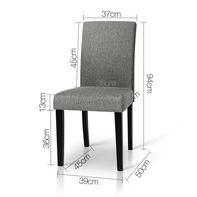 Zion Fabric Dining Chairs (Set of 2)  measurements