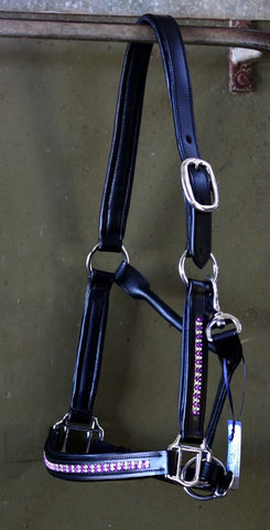 Leather Padded Halter Purple Bling