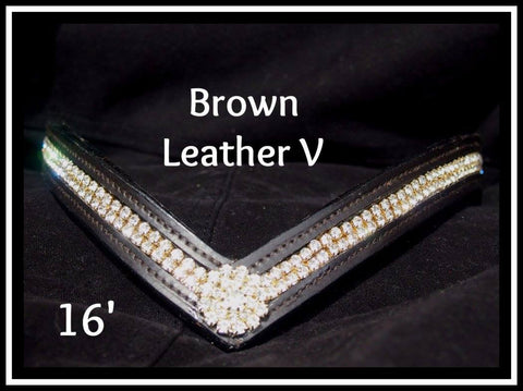 Brown Leather V Gold Bling