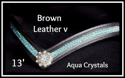 Leather V Aqua crystals 13'