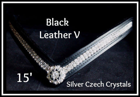 black leather V Clear crystals
