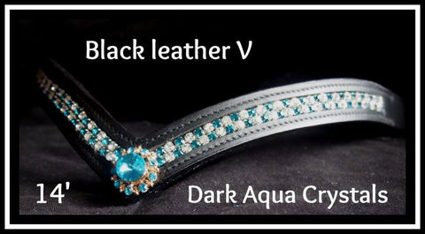 Leather V Brown with aqua crystals