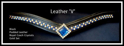 Padded Leather V  Royal Bling