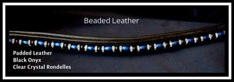 Straight padded leather beaded blue onyx