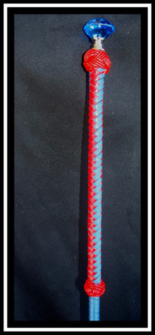 Red & Royal vertical Braid leather Cane