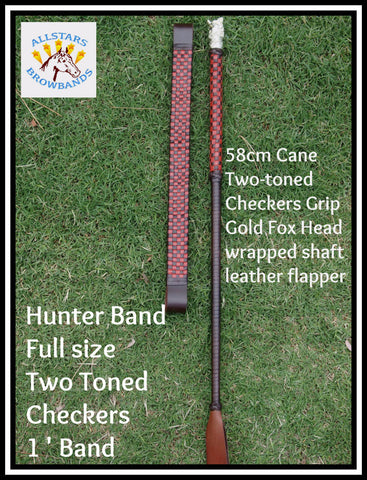 Hunter Browband & Cane Set Two toned Brown