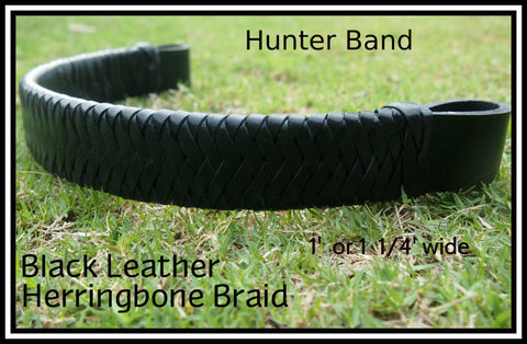 Black Leather  Hunter Band 1 1/4' Wide