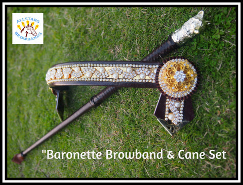In Stock Cob Baronette Browband and Cane Set