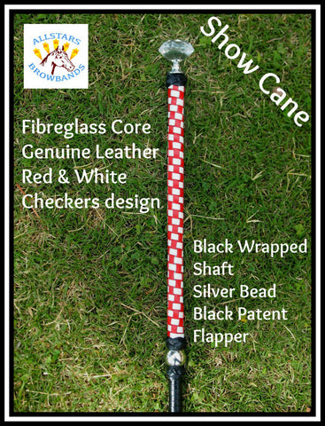 Red & White Leather Show cane