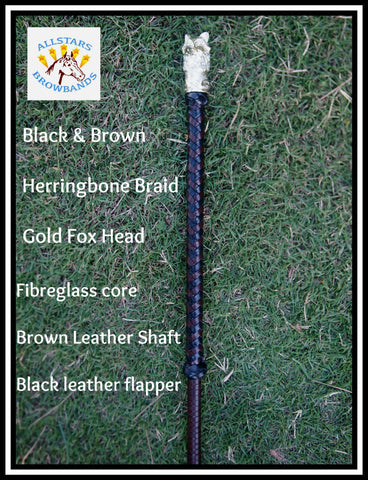 Black & Brown Fox head Hunter cane