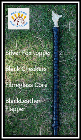 Silver Fox Head Black hunter cane