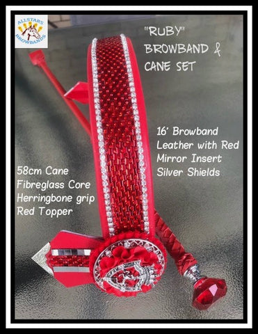 Ruby Browband and Cane Set