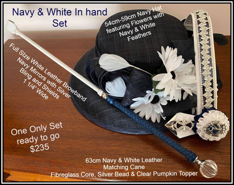 Navy & White Complete with hat, Browband and Cane