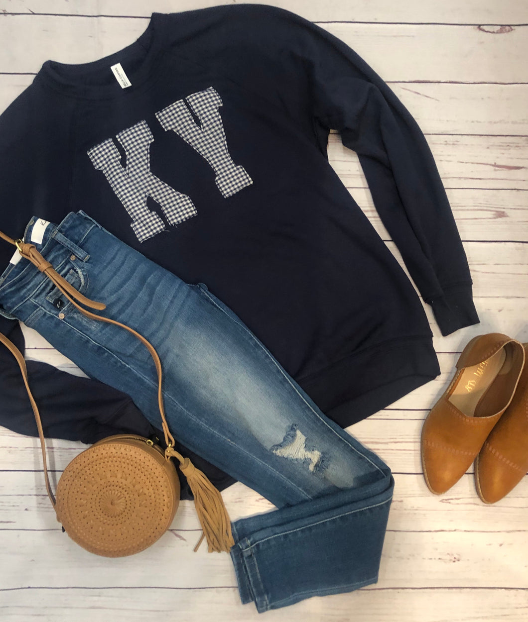 Navy Bella Canvas Sweatshirt + Blue/White Check KY
