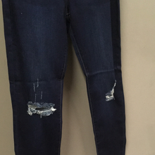 Dark Denim Ankle Jean + High Rise + Distressed
