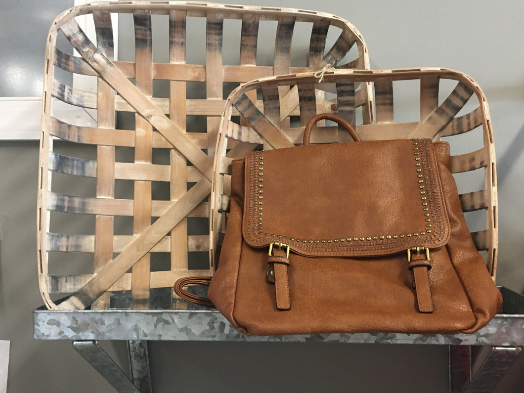 Brown Leather Backpack + Studded Flap