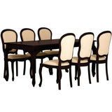 MP - Queen Ann Dining Table DT 180 x 90 cm with 6 Queen Ann Chairs ( Peanut Shape Back ) Special Package Set Full Solid TEK168 DT 180 x 90 QA Set ( Package Price) ( Picture, Color, Illustration for Reference Only ) ( Chocolate Color )