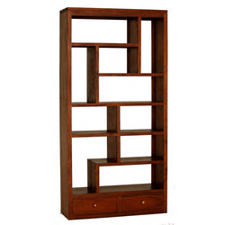 Amsterdam Solid Teak Timber 10 Cube Shelf with 2 Drawer Bookcase Divider Display - TEK168CU-012-TA-LP ( Light Pecan Colour )