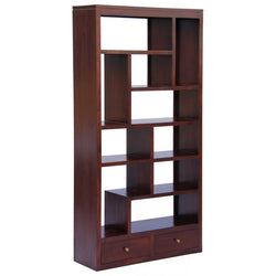 Amsterdam Solid Teak Timber 10 Cube Shelf with 2 Drawer Bookcase Divider Display - TEK168 CU 012 TA LP ( Mahogany Colour )