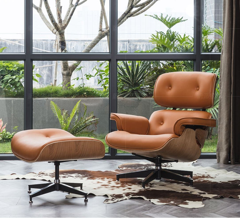 RILEY Modern Leather Armchair with Ottoman