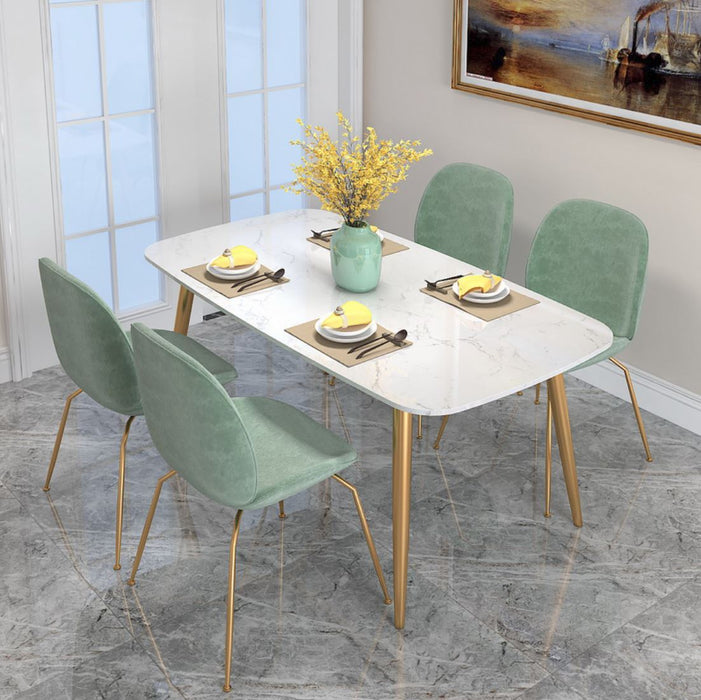 LUNA Modern Minimalistic Marble Gold Dining Table