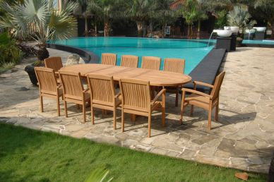 Outdoor 200-250 Extension Table and 8 Stacking Chair TEK168INX EXT TABLE 200-250 and 10 STACK CHAIR SET