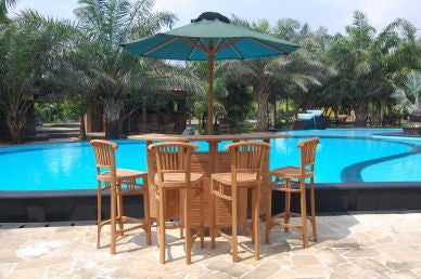 Outdoor Folding Bar Table with Storage with 4 Tall Bar Chair Set with Umbrella Parasol TEK168INX BAR TABLE 4 BAR CHAIR 1 SUN UMBRELLA SET