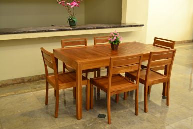 Outdoor Rectangular Table and 6 Chairs Set ( Special Package ) TEK168INX TABLE 150 and 6 HORIZONTAL SLAT CHAIR SET