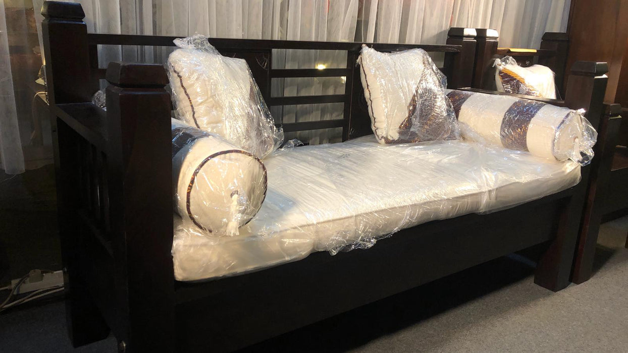 Bali Daybed Sofa Bed 165 cm Free Mattress Free Cushion Straight Arm Rest TEK168 DB 6603 CV SF 3 ( 165 65 95 ) ( Picture for Reference Only ) Showroom Set ( Chocolate Colour )