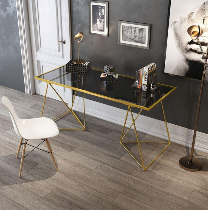 ELEANOR Tempered Glass Wire Frame Writing Office Table