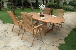 Outdoor Oval Extension Table and 4 Reclining Chair  Set ( Special Package ) TEK168INX EXT TABLE 100 and 4 RECLINE CHAIR SET