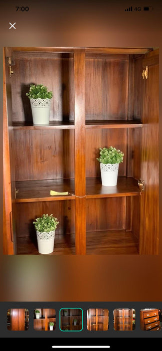 Amsterdam Wide Bookcase Solid Teak Timber TEK168 BC 000 TA WC Covered  LP ( Light Pecan )