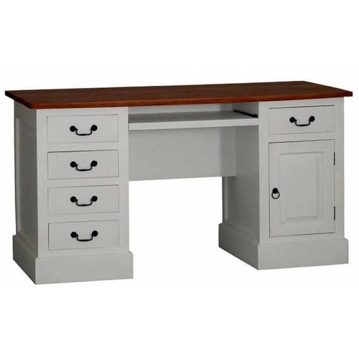 Executive Table Writing Desk 5 Drawers 1 Door TEK168 DK 105 PN ( Two Tone Wood / White Color )
