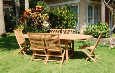 Outdoor Extension Table and 6 Folding Chair TEK168INX EXT TABLE 180-220 and 6 FOLD CHAIR SET