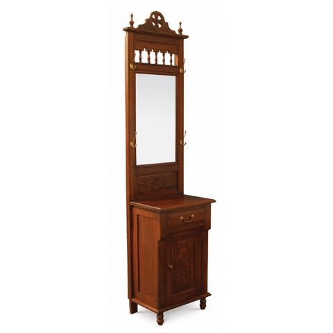 1 Door 1 Drawer Carved Hall Stand Mahogany Colour TEK168HS-101-CV Dresser Dressing Vanity Mirror ( Mahogony Colour )