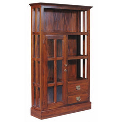 01 Member Special - Display Cabinet Ranage 1 Glass Door 3  Shelf Solid Wood DC 102 GL 1 Door 2 Drawer Glass Display Cabinet TEK168 DC 102 GL ( Chocolate Colour )