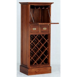 CAPITOLA Teak 1 Door 2 Drawer Wine Rack with Wine Glass Hanging Bar Cabinet TEK168WR-102-PN ( Light Pecan Colour )