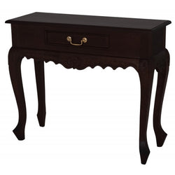 01 Member Special - Queen AnnMary French Console Table with 1 Drawer / 1 Drawer Carved Sofa Table TEK168 ST 001 CV Desk ( Picture Illustration Colour for Reference Only ) ( Chocolate Colour ) ST 001 CV