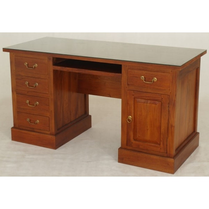 Executive Table Writing Desk 5 Drawers 1 Door Keyboard Storage 150W 65D 80H  TEK168 DK 105 PN ( Light Pecan Colour )