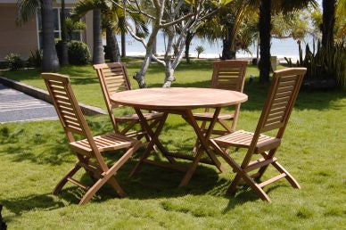 Outdoor Round Folding Table and 4 Horizontal Slat Folding Chairs Set TEK168INX ROUND FOLD Table 4 HORIZONTAL SLAT FOLD CHAIR SET